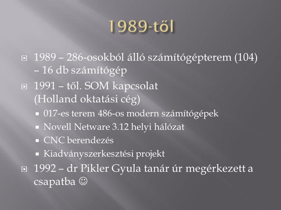  1989 – 286-osokból álló számítógépterem (104) – 16 db számítógép  1991 – től. SOM kapcsolat (Holland oktatási cég)  017-es terem 486-os modern szá