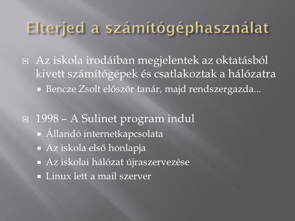  Az iskola irodáiban megjelentek az oktatásból kivett számítógépek és csatlakoztak a hálózatra  Bencze Zsolt először tanár, majd rendszergazda... 