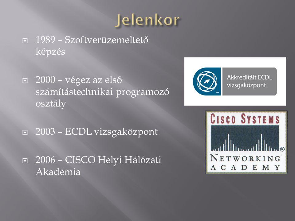  1989 – Szoftverüzemeltető képzés  2000 – végez az első számítástechnikai programozó osztály  2003 – ECDL vizsgaközpont  2006 – CISCO Helyi Hálóza