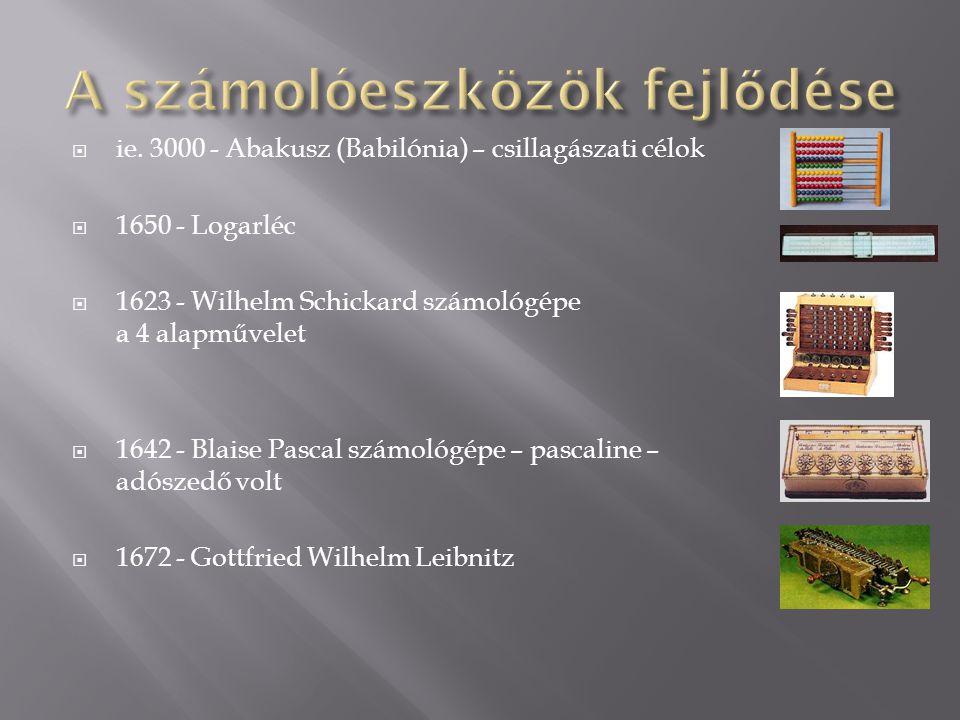  ie. 3000 - Abakusz (Babilónia) – csillagászati célok  1650 - Logarléc  1623 - Wilhelm Schickard számológépe a 4 alapművelet  1642 - Blaise Pascal