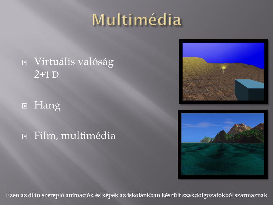  Virtuális valóság 2 +1 D  Hang  Film, multimédia Ezen az dián szereplő animációk és képek az iskolánkban készült szakdolgozatokból származnak
