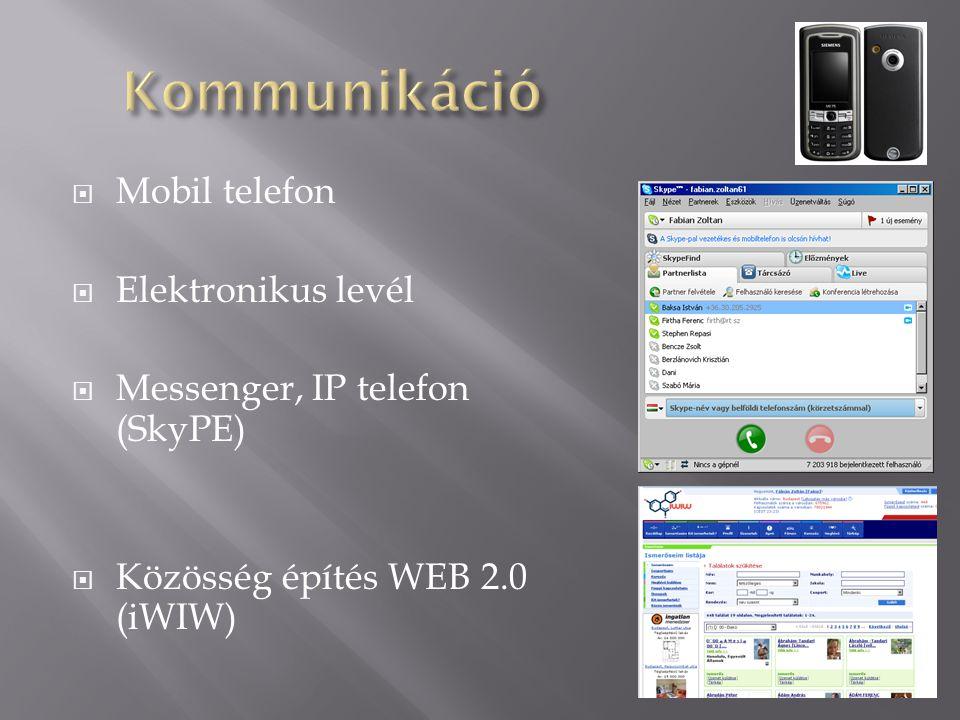  Mobil telefon  Elektronikus levél  Messenger, IP telefon (SkyPE)  Közösség építés WEB 2.0 (iWIW)