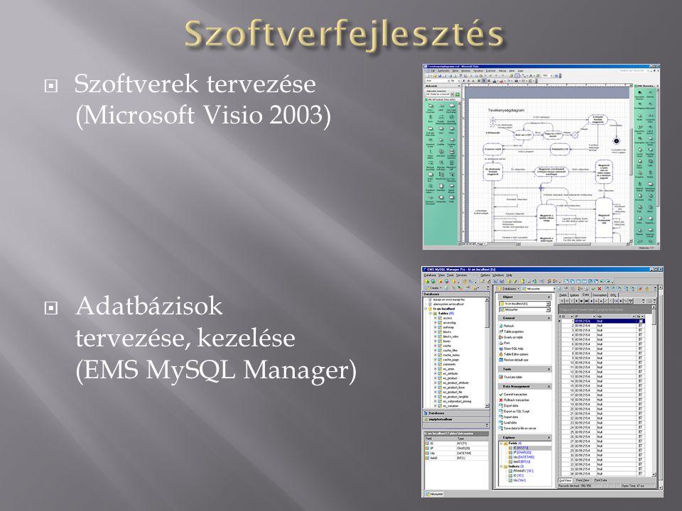  Szoftverek tervezése (Microsoft Visio 2003)  Adatbázisok tervezése, kezelése (EMS MySQL Manager)