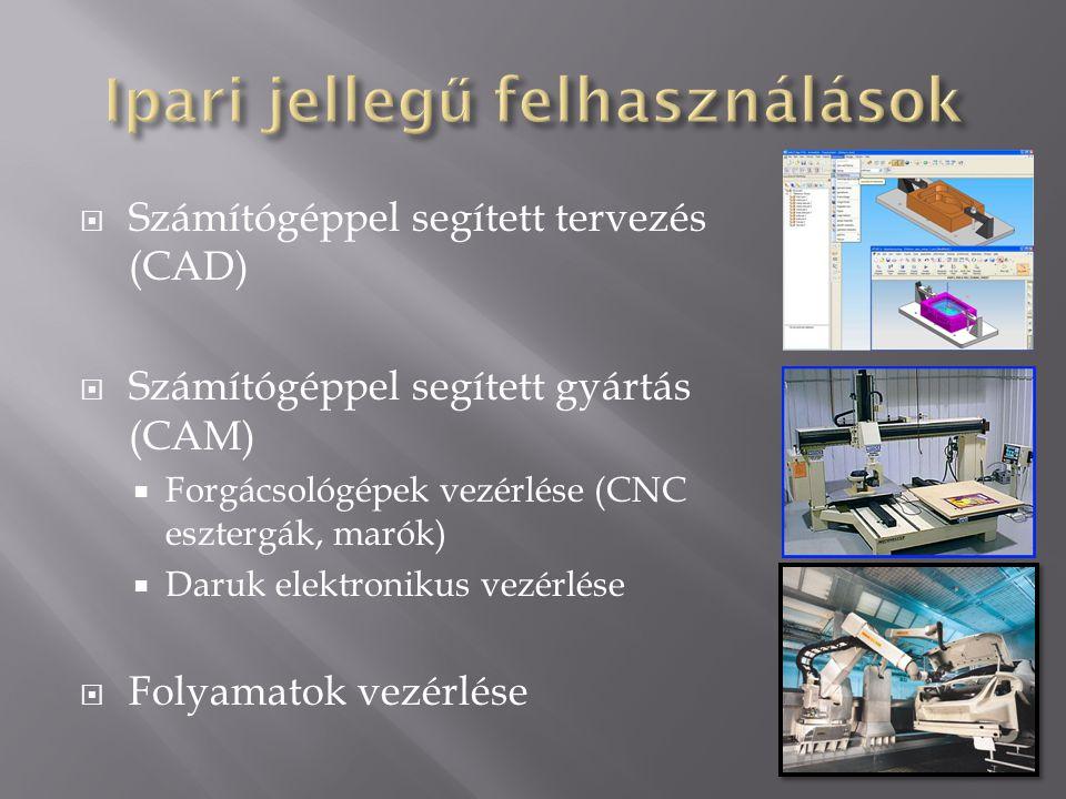  Számítógéppel segített tervezés (CAD)  Számítógéppel segített gyártás (CAM)  Forgácsológépek vezérlése (CNC esztergák, marók)  Daruk elektronikus