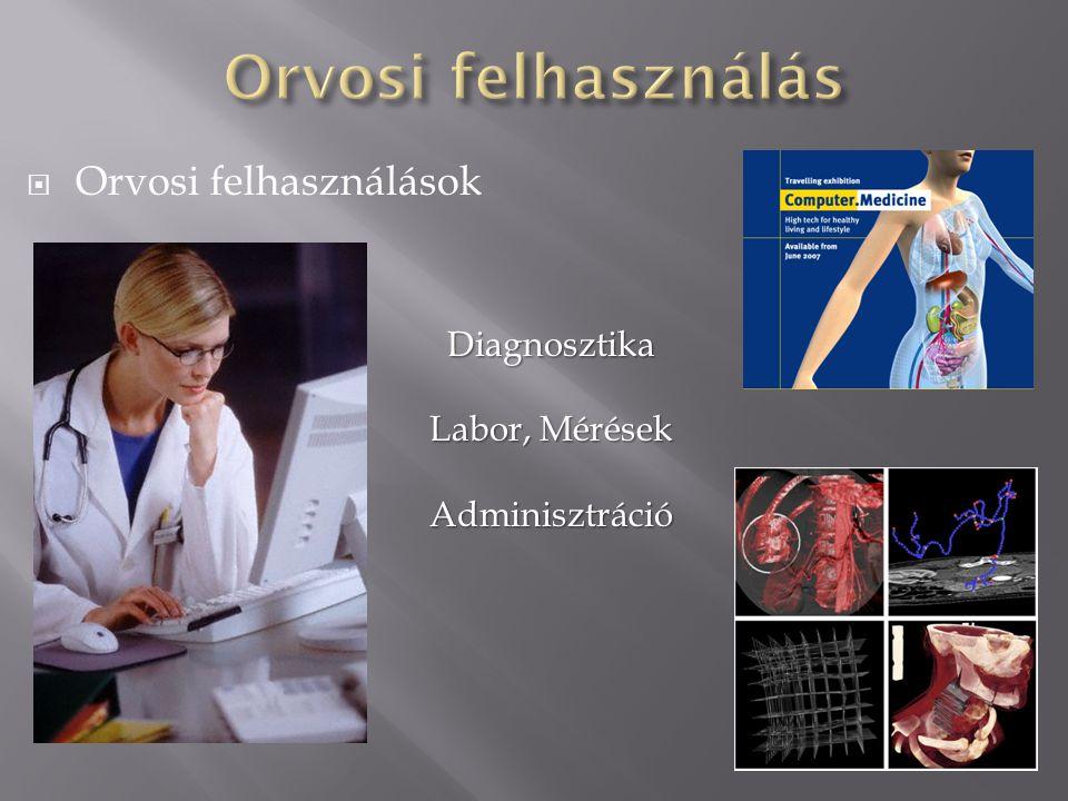  Orvosi felhasználások Diagnosztika Labor, Mérések Adminisztráció