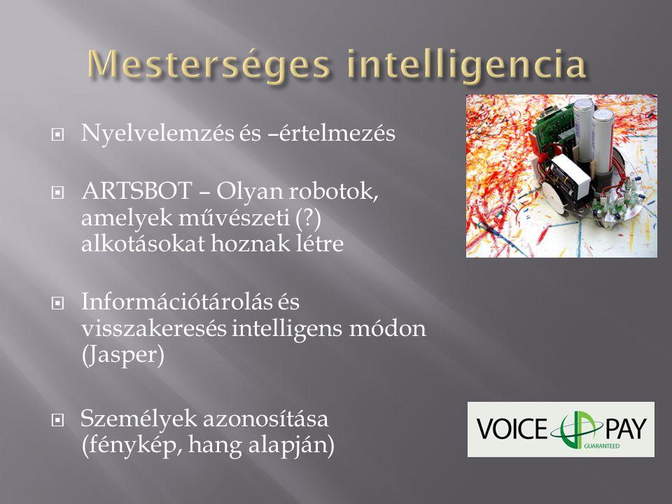  Nyelvelemzés és –értelmezés  ARTSBOT – Olyan robotok, amelyek művészeti (?) alkotásokat hoznak létre  Információtárolás és visszakeresés intellige