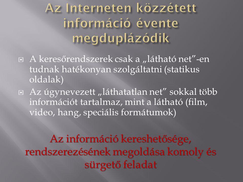 """ A keresőrendszerek csak a """"látható net""""-en tudnak hatékonyan szolgáltatni (statikus oldalak)  Az úgynevezett """"láthatatlan net"""" sokkal több informác"""