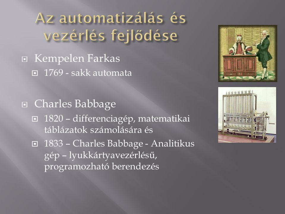 Kempelen Farkas  1769 - sakk automata  Charles Babbage  1820 – differenciagép, matematikai táblázatok számolására és  1833 – Charles Babbage - A