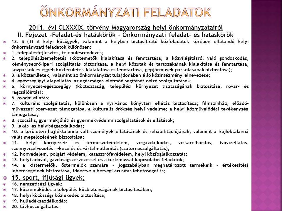 2011. évi CLXXXIX. törvény Magyarország helyi önkormányzatairól II. Fejezet –Feladat-és hatáskörök - Önkormányzati feladat- és hatáskörök  13. § (1)