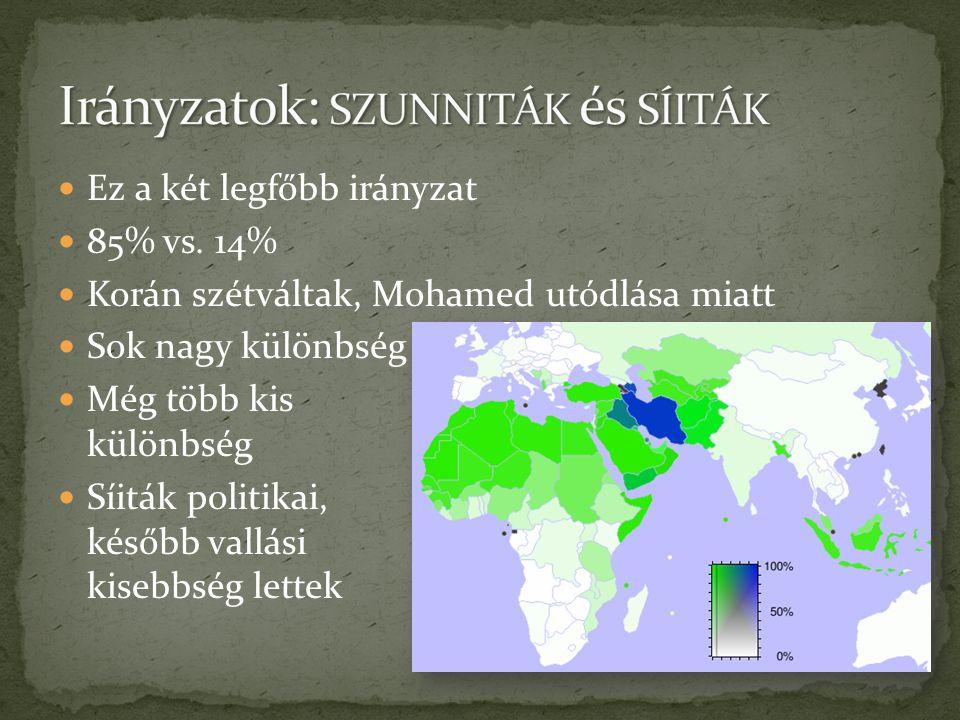  Ez a két legfőbb irányzat  85% vs. 14%  Korán szétváltak, Mohamed utódlása miatt  Sok nagy különbség  Még több kis különbség  Síiták politikai,
