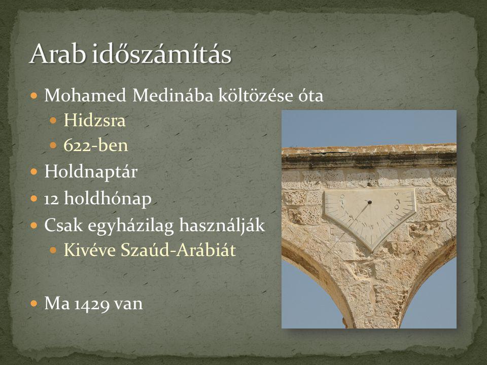  Mohamed Medinába költözése óta  Hidzsra  622-ben  Holdnaptár  12 holdhónap  Csak egyházilag használják  Kivéve Szaúd-Arábiát  Ma 1429 van