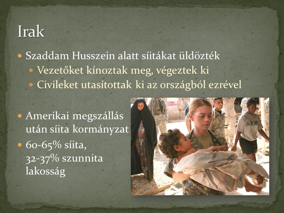  Szaddam Husszein alatt síitákat üldözték  Vezetőket kínoztak meg, végeztek ki  Civileket utasítottak ki az országból ezrével  Amerikai megszállás