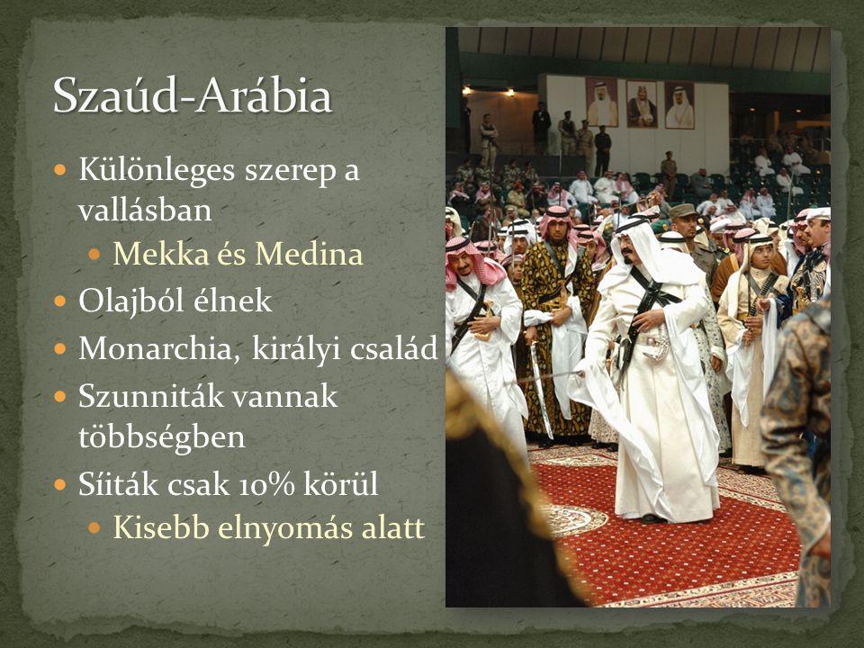  Különleges szerep a vallásban  Mekka és Medina  Olajból élnek  Monarchia, királyi család  Szunniták vannak többségben  Síiták csak 10% körül 