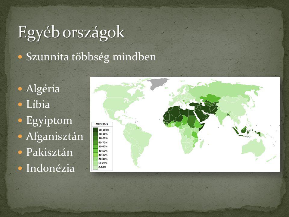  Szunnita többség mindben  Algéria  Líbia  Egyiptom  Afganisztán  Pakisztán  Indonézia