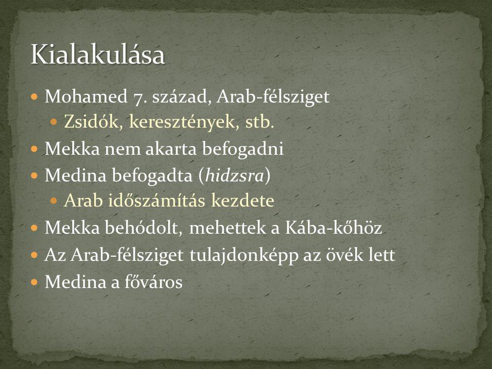  Mohamed 7. század, Arab-félsziget  Zsidók, keresztények, stb.  Mekka nem akarta befogadni  Medina befogadta (hidzsra)  Arab időszámítás kezdete