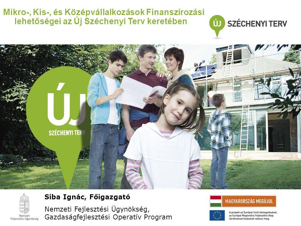 Mikro-, Kis-, és Középvállalkozások Finanszírozási lehetőségei az Új Széchenyi Terv keretében Siba Ignác, Főigazgató Nemzeti Fejlesztési Ügynökség, Ga