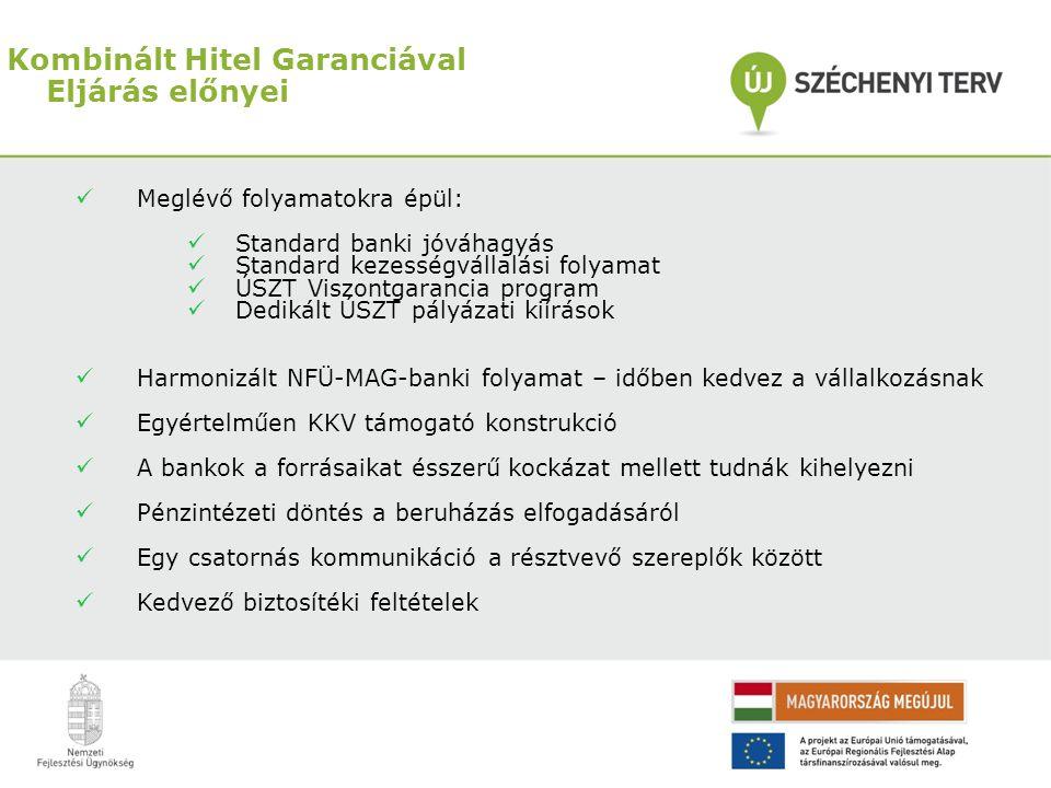 Kombinált Hitel Garanciával Eljárás előnyei  Meglévő folyamatokra épül:  Standard banki jóváhagyás  Standard kezességvállalási folyamat  ÚSZT Visz