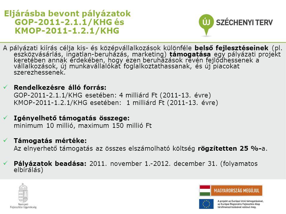 Eljárásba bevont pályázatok GOP-2011-2.1.1/KHG és KMOP-2011-1.2.1/KHG A pályázati kiírás célja kis- és középvállalkozások különféle belső fejlesztései