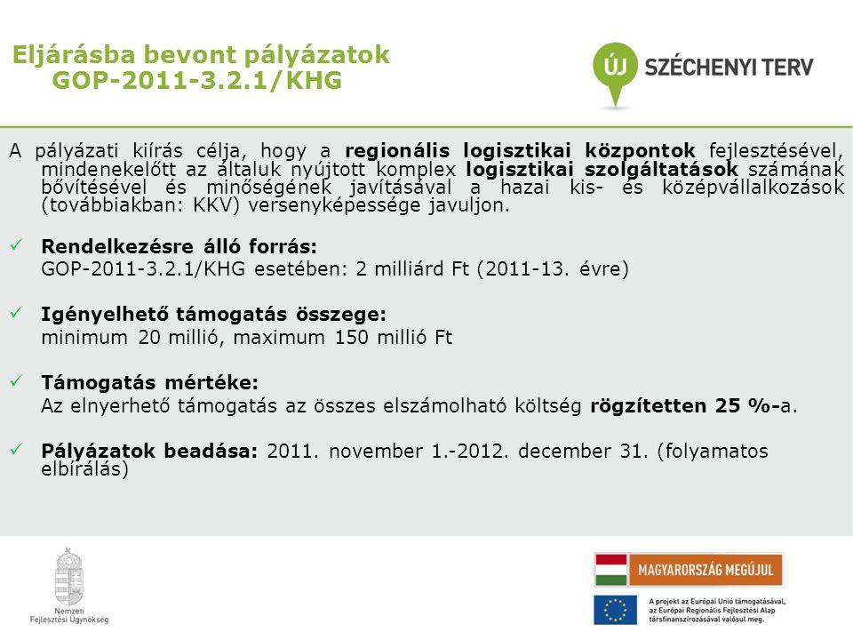 Eljárásba bevont pályázatok GOP-2011-3.2.1/KHG A pályázati kiírás célja, hogy a regionális logisztikai központok fejlesztésével, mindenekelőtt az álta