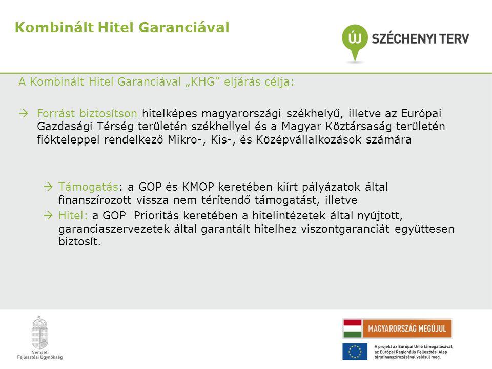 """A Kombinált Hitel Garanciával """"KHG"""" eljárás célja:  Forrást biztosítson hitelképes magyarországi székhelyű, illetve az Európai Gazdasági Térség terül"""