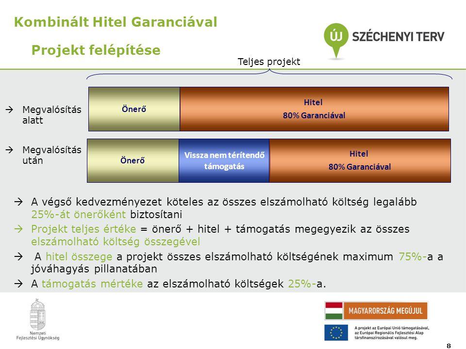 Kombinált Hitel Garanciával Projekt felépítése Önerő Vissza nem térítendő támogatás Hitel 80% Garanciával 8 Teljes projekt Önerő Hitel 80% Garanciával