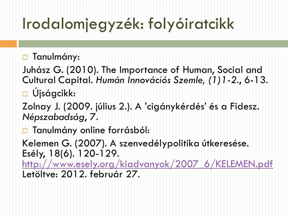 Irodalomjegyzék: folyóiratcikk  Tanulmány: Juhász G. (2010). The Importance of Human, Social and Cultural Capital. Humán Innovációs Szemle, (1)1-2.,