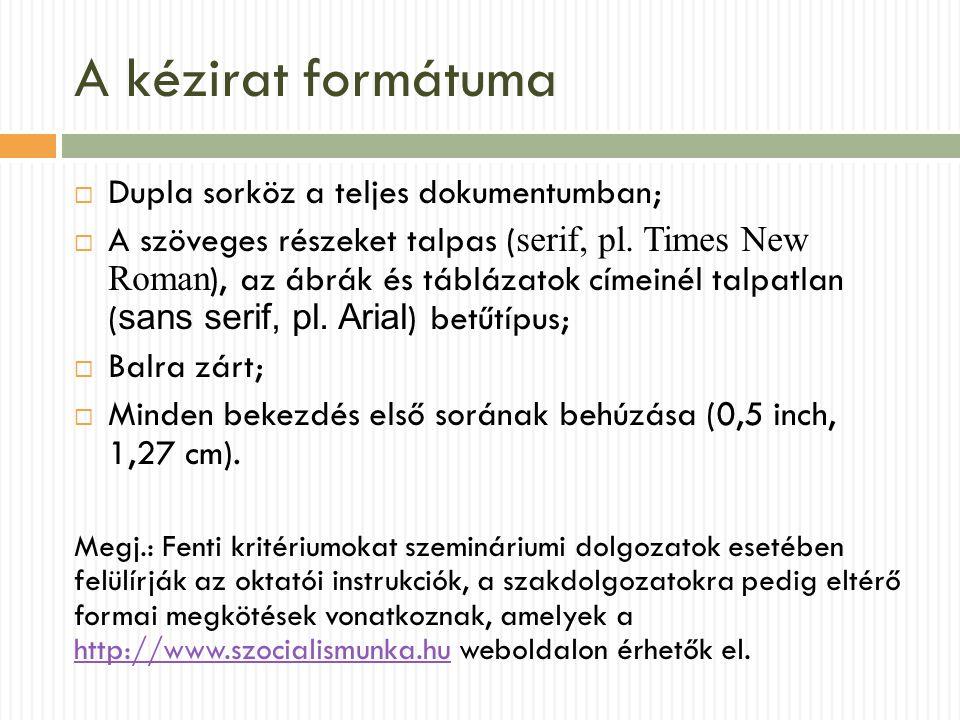 A kézirat formátuma  Dupla sorköz a teljes dokumentumban;  A szöveges részeket talpas ( serif, pl. Times New Roman ), az ábrák és táblázatok címeiné