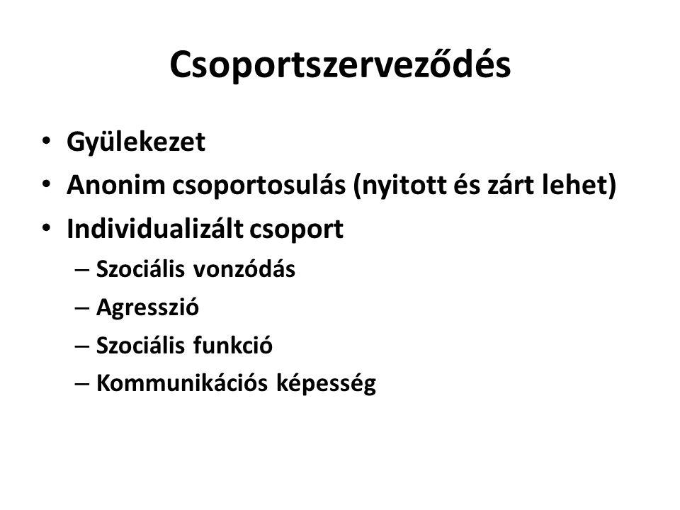 Csoportszerveződés • Gyülekezet • Anonim csoportosulás (nyitott és zárt lehet) • Individualizált csoport – Szociális vonzódás – Agresszió – Szociális