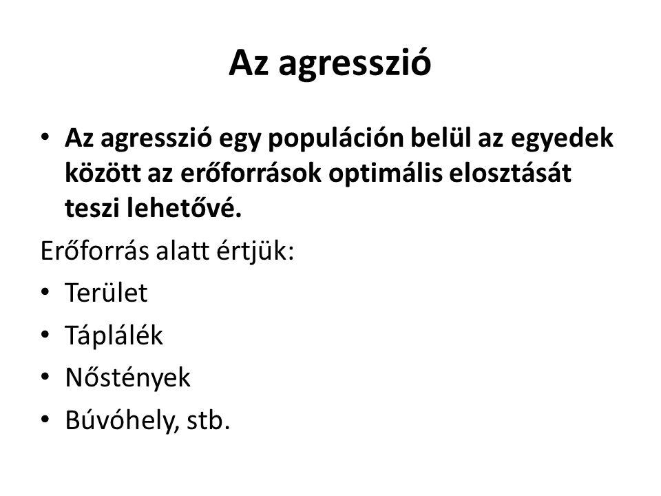 Az agresszió • Az agresszió egy populáción belül az egyedek között az erőforrások optimális elosztását teszi lehetővé. Erőforrás alatt értjük: • Terül