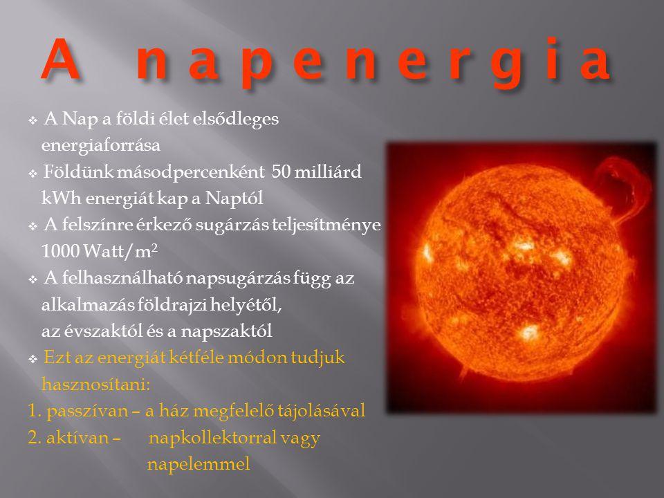 A n a p e n e r g i a  A Nap a földi élet elsődleges energiaforrása  Földünk másodpercenként 50 milliárd kWh energiát kap a Naptól  A felszínre érk