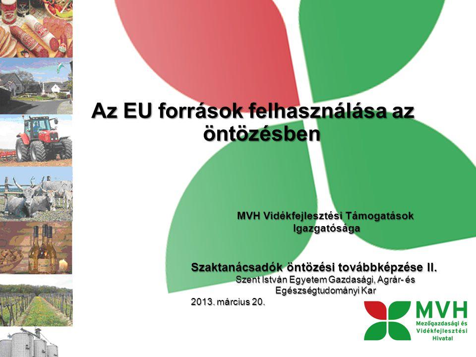 Az EU források felhasználása az öntözésben MVH Vidékfejlesztési Támogatások Igazgatósága Igazgatósága Szaktanácsadók öntözési továbbképzése II.