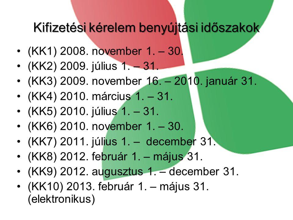 Kifizetési kérelem benyújtási időszakok •(KK1) 2008.