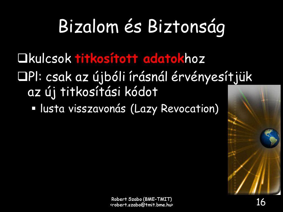 Bizalom és Biztonság  kulcsok titkosított adatokhoz  Pl: csak az újbóli írásnál érvényesítjük az új titkosítási kódot  lusta visszavonás (Lazy Revocation) Robert Szabo (BME-TMIT) 16