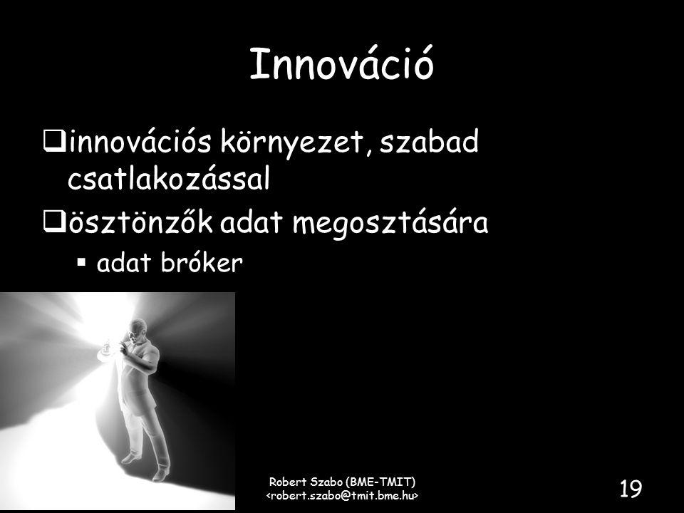 Innováció  innovációs környezet, szabad csatlakozással  ösztönzők adat megosztására  adat bróker Robert Szabo (BME-TMIT) 19