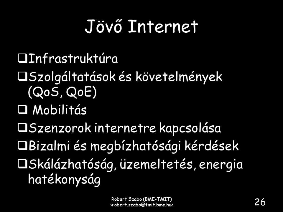 Jövő Internet  Infrastruktúra  Szolgáltatások és követelmények (QoS, QoE)  Mobilitás  Szenzorok internetre kapcsolása  Bizalmi és megbízhatósági kérdések  Skálázhatóság, üzemeltetés, energia hatékonyság Robert Szabo (BME-TMIT) 26