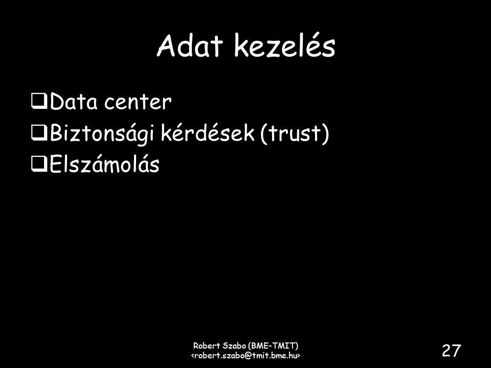 Adat kezelés  Data center  Biztonsági kérdések (trust)  Elszámolás Robert Szabo (BME-TMIT) 27