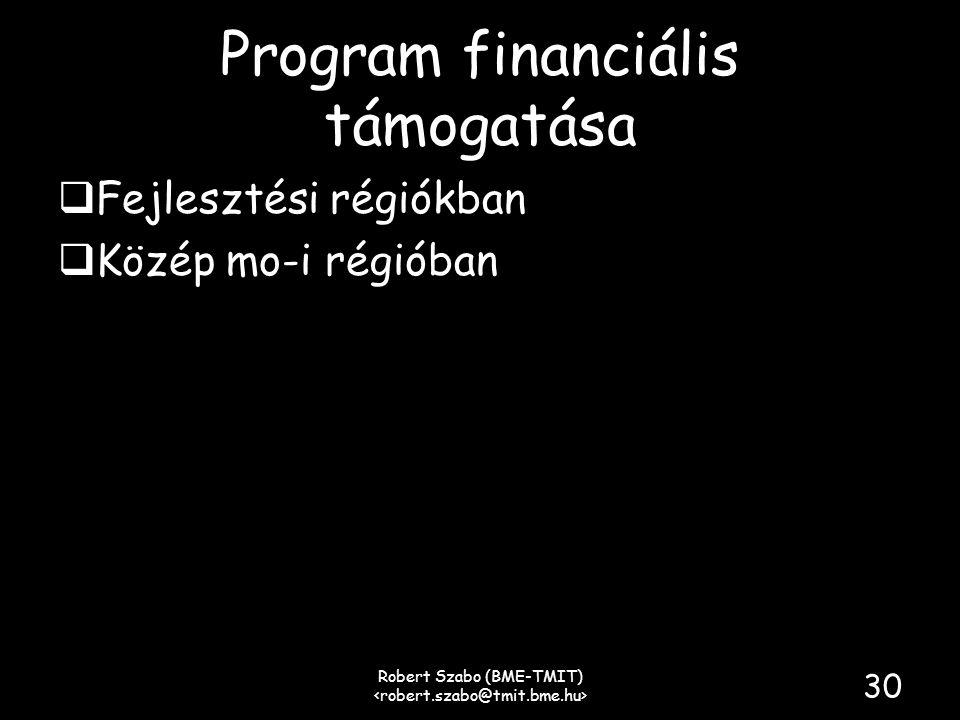 Program financiális támogatása  Fejlesztési régiókban  Közép mo-i régióban Robert Szabo (BME-TMIT) 30