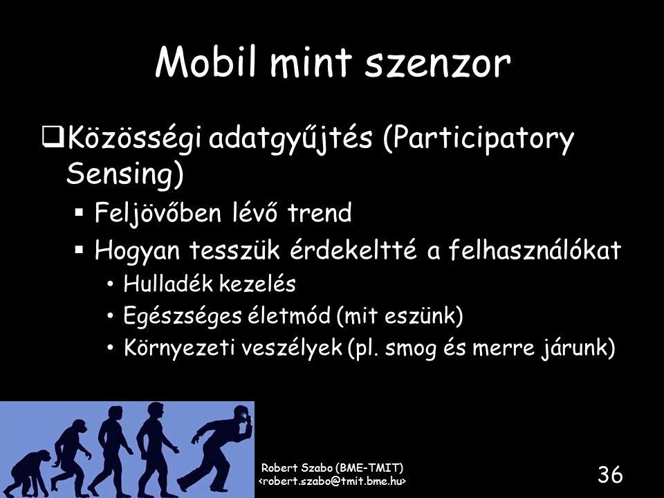 Mobil mint szenzor  Közösségi adatgyűjtés (Participatory Sensing)  Feljövőben lévő trend  Hogyan tesszük érdekeltté a felhasználókat • Hulladék kezelés • Egészséges életmód (mit eszünk) • Környezeti veszélyek (pl.