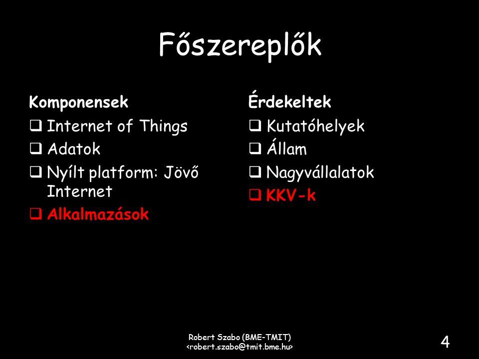 Főszereplők Komponensek  Internet of Things  Adatok  Nyílt platform: Jövő Internet  Alkalmazások Érdekeltek  Kutatóhelyek  Állam  Nagyvállalatok  KKV-k Robert Szabo (BME-TMIT) 4