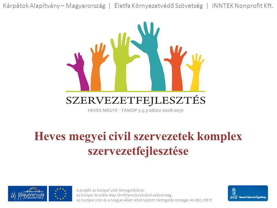 A projekt célja • A résztvevő civil szervezetek szakmai kompetenciáinak, forráslehívó képességeinek és szervezeti hatékonyságának növelése, együttműködésen alapuló szervezetfejlesztéssel és speciálisan a helyi civil szektor igényeihez kidolgozott képzésekkel, tréningekkel.
