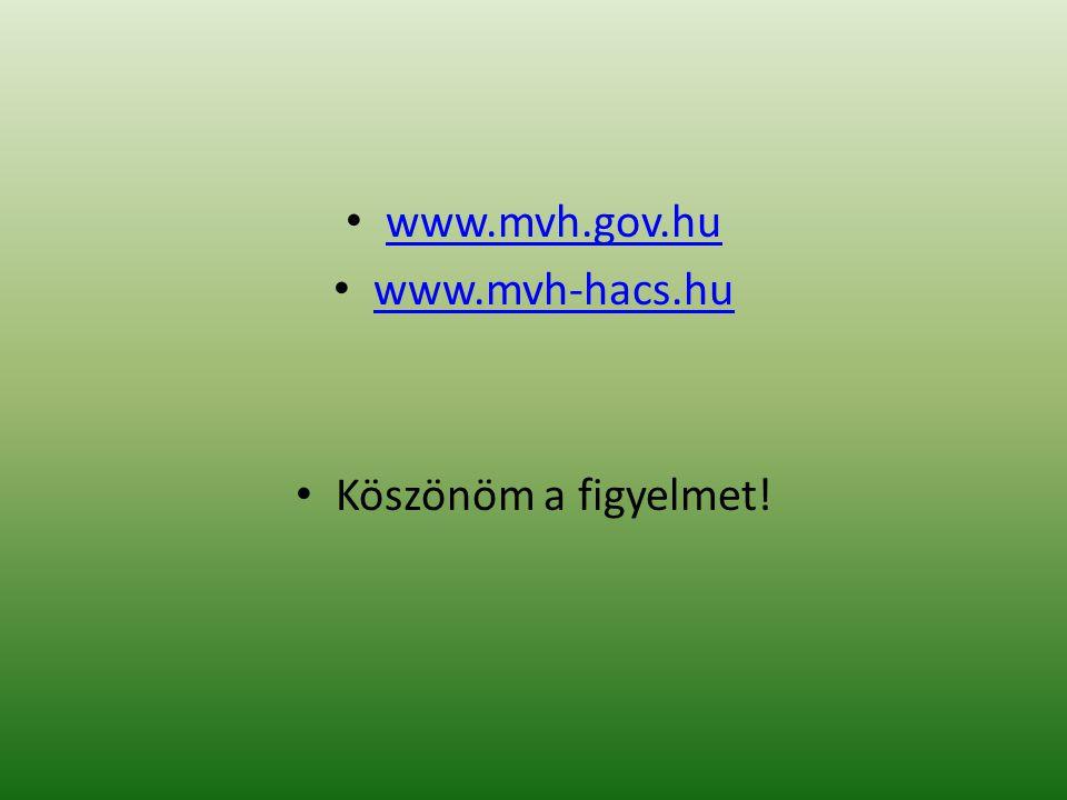• www.mvh.gov.hu www.mvh.gov.hu • www.mvh-hacs.hu www.mvh-hacs.hu • Köszönöm a figyelmet!