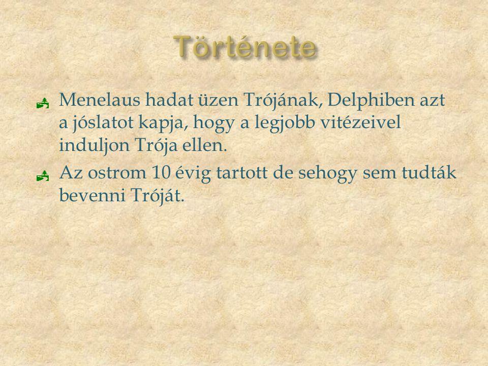  Menelaus hadat üzen Trójának, Delphiben azt a jóslatot kapja, hogy a legjobb vitézeivel induljon Trója ellen.  Az ostrom 10 évig tartott de sehogy