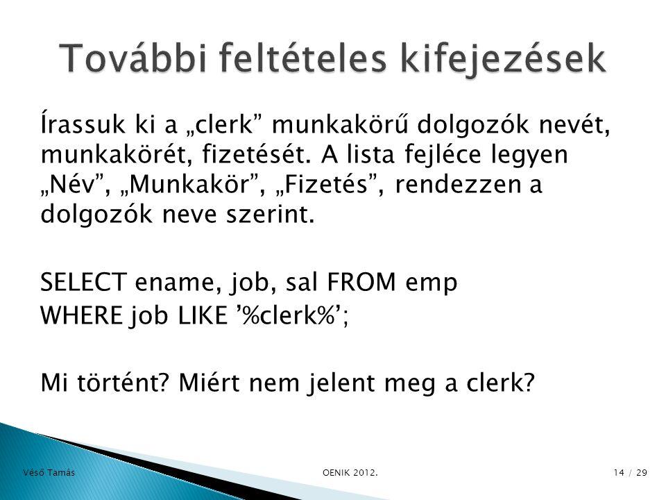"""Írassuk ki a """"clerk munkakörű dolgozók nevét, munkakörét, fizetését."""