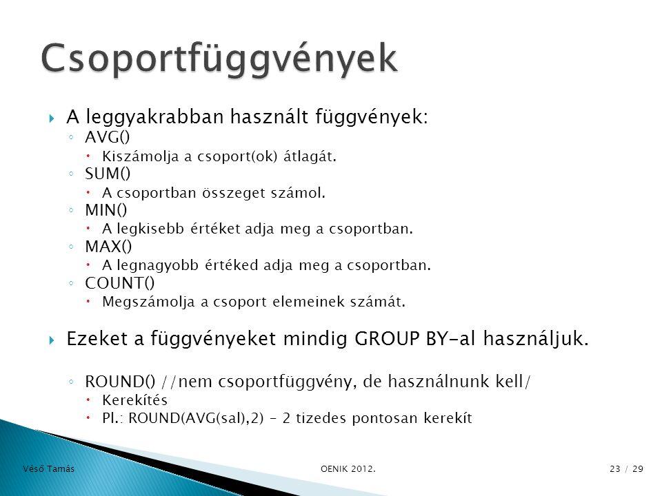  A leggyakrabban használt függvények: ◦ AVG()  Kiszámolja a csoport(ok) átlagát.