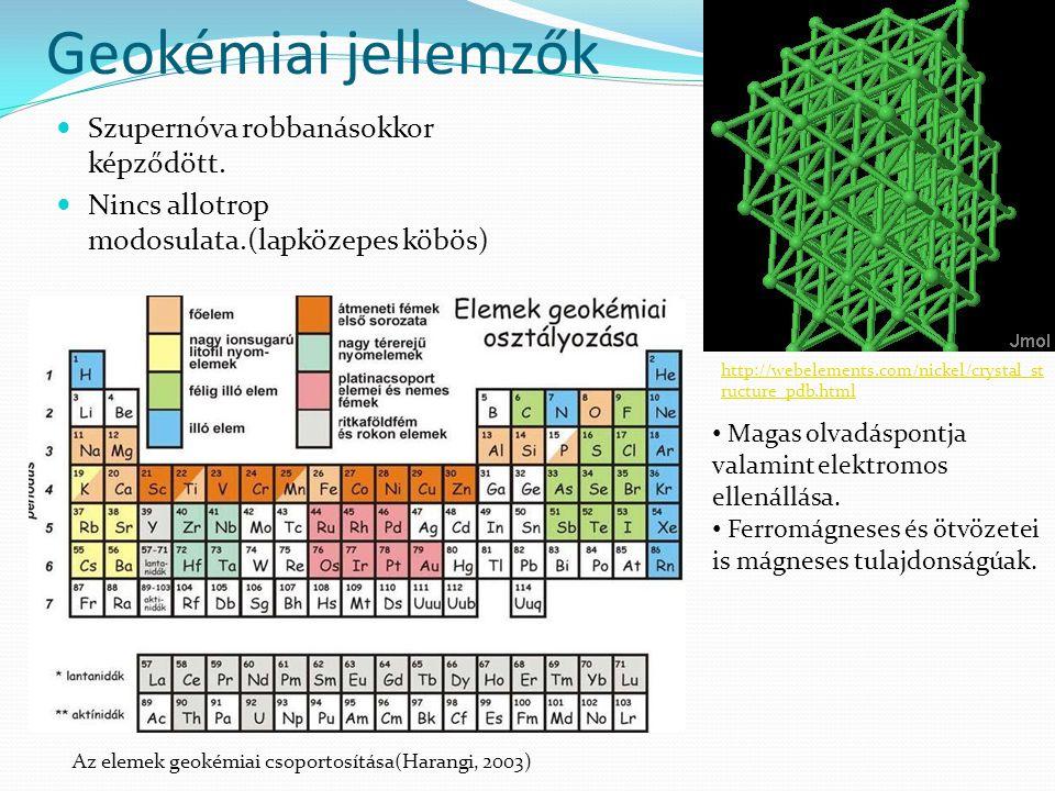 Geokémiai jellemzők  Szupernóva robbanásokkor képződött.  Nincs allotrop modosulata.(lapközepes köbös) http://webelements.com/nickel/crystal_st ruct