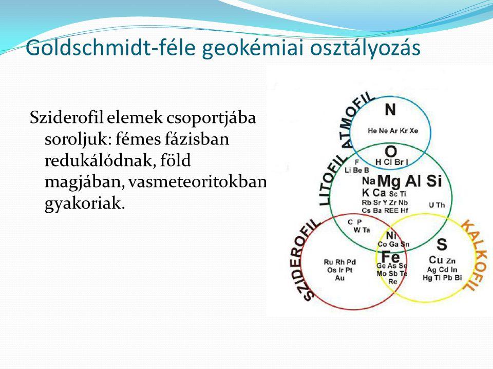Goldschmidt-féle geokémiai osztályozás Sziderofil elemek csoportjába soroljuk: fémes fázisban redukálódnak, föld magjában, vasmeteoritokban gyakoriak.