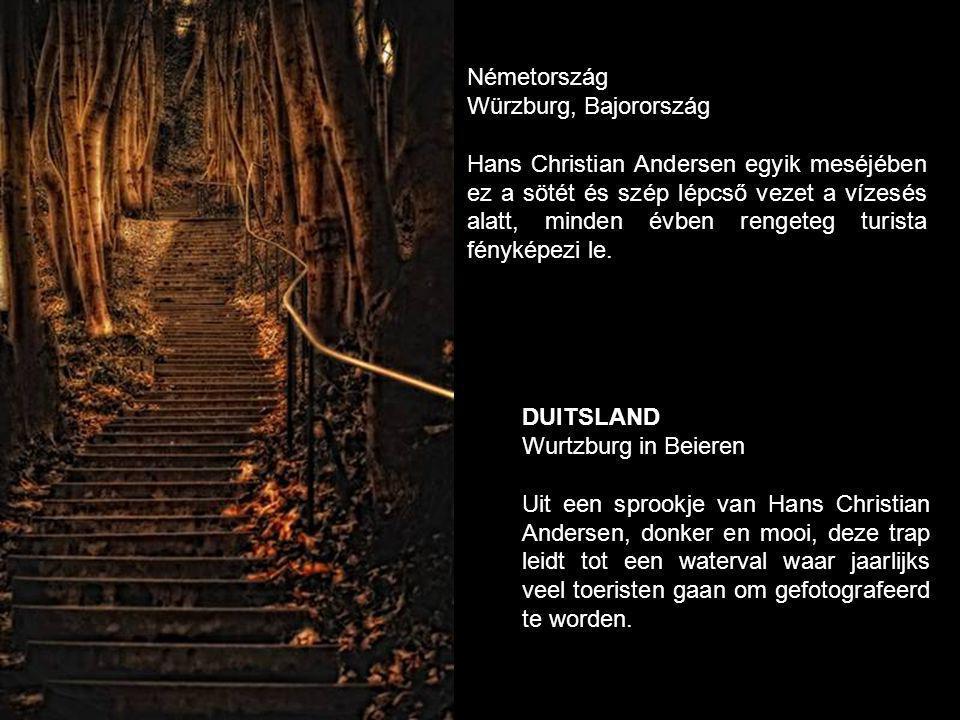 DUITSLAND Wurtzburg in Beieren Uit een sprookje van Hans Christian Andersen, donker en mooi, deze trap leidt tot een waterval waar jaarlijks veel toeristen gaan om gefotografeerd te worden.
