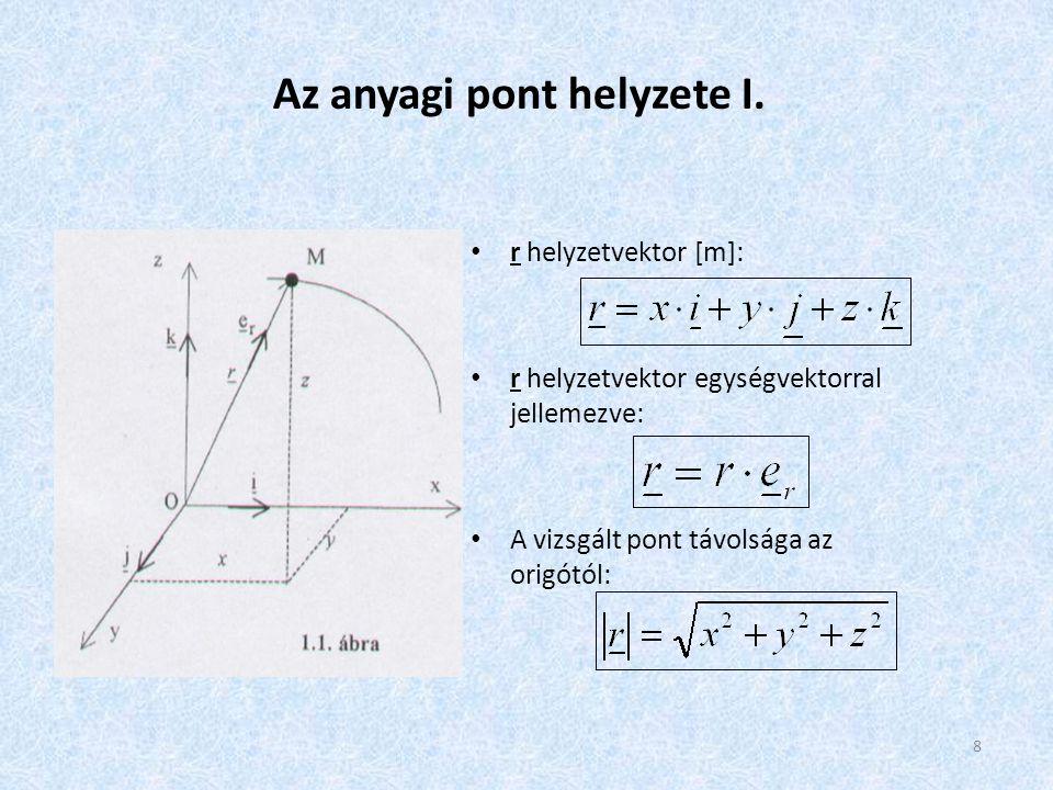 8 Az anyagi pont helyzete I. • r helyzetvektor [m]: • r helyzetvektor egységvektorral jellemezve: • A vizsgált pont távolsága az origótól: