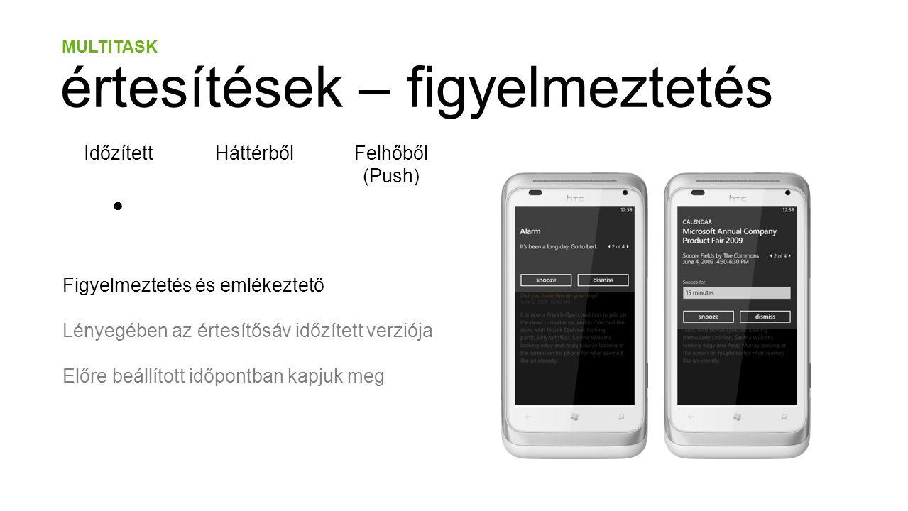 MULTITASK értesítések – figyelmeztetés IdőzítettHáttérbőlFelhőből (Push) ● Figyelmeztetés és emlékeztető Lényegében az értesítősáv időzített verziója