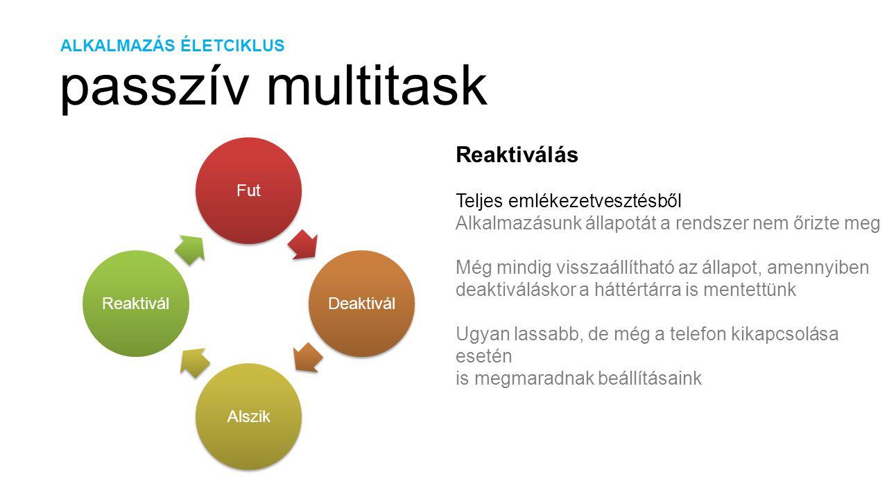 ALKALMAZÁS ÉLETCIKLUS passzív multitask FutDeaktiválAlszikReaktivál Reaktiválás Teljes emlékezetvesztésből Alkalmazásunk állapotát a rendszer nem őriz